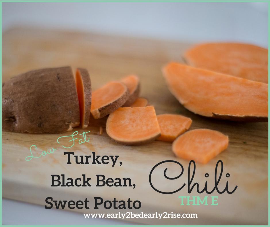 Turkey, Black Bean, Sweet Potato Low Fat Chili (THM E)