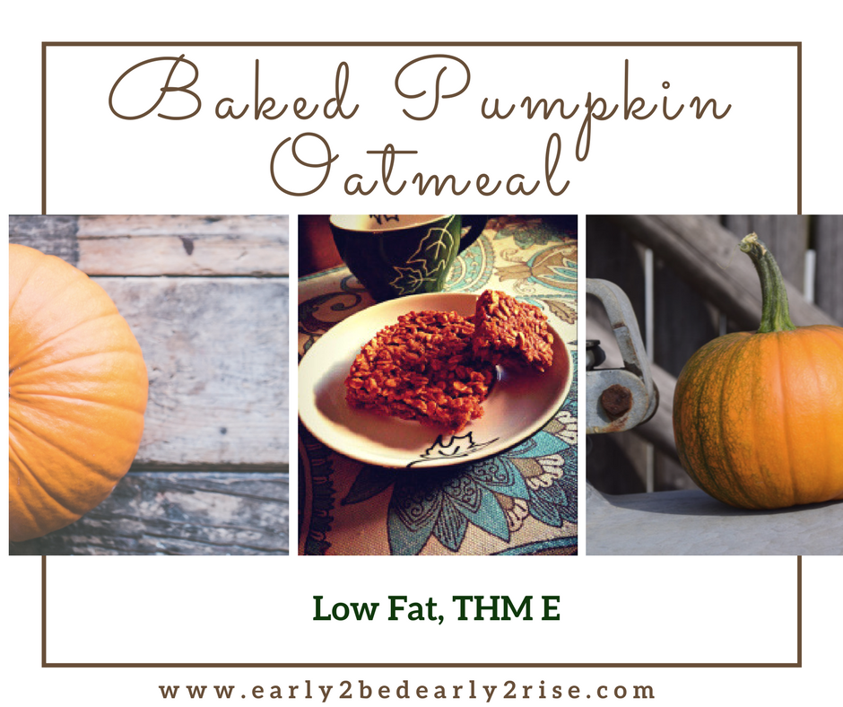 Easy, Delicious Pumpkin Baked Oatmeal (Low Fat, THM E)