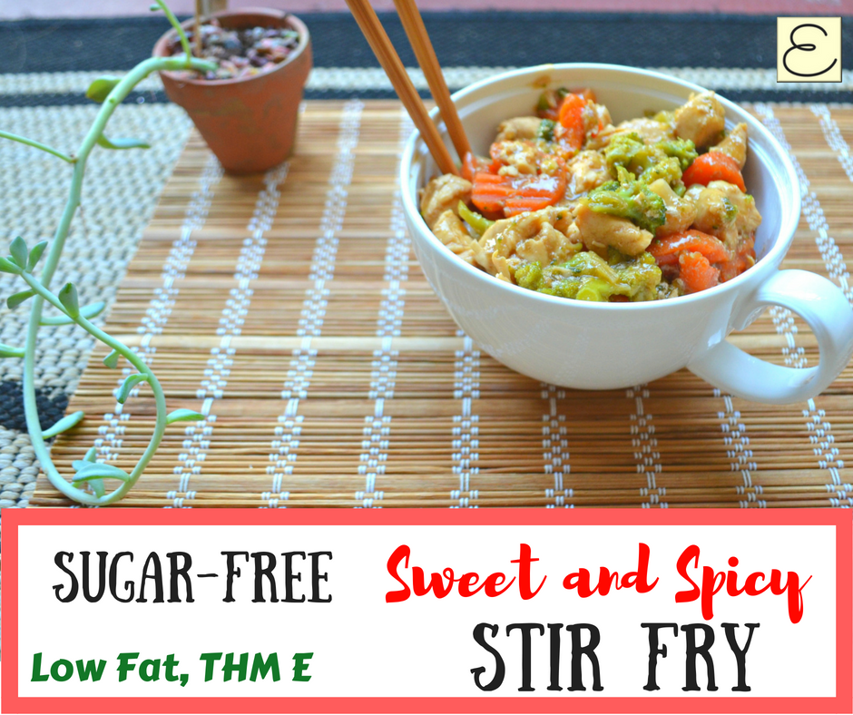 Easy, Healthy, Sugar-Free Sweet and Spicy Stir Fry (THM-E, S, or FP)